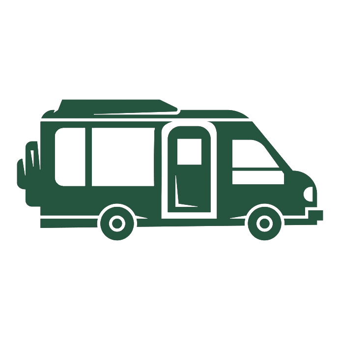 Grüner Camper als Icon minimalisiert